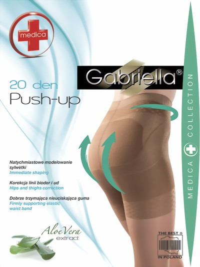 Gabriella - Bum shaping tights Push Up, 20 DEN, beige, size L