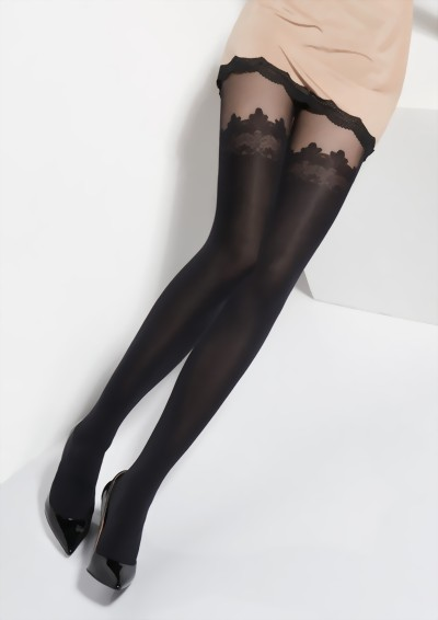 Marilyn - Elegant mock hold ups tights with lace top Zazu